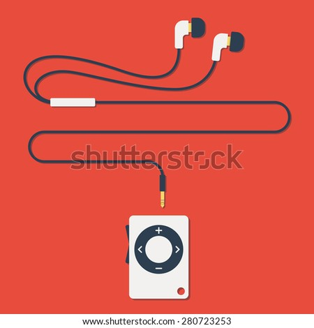 stylish modern MP3 player with earphones in flat style. Vector - stock vector