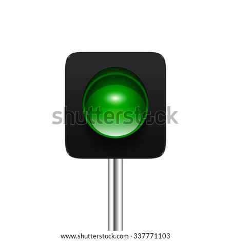 Stylish modern vector green single aspect traffic signal isolated on white background. Traffic light icon for your design. - stock vector