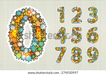 Stylish numbers composed of stars, illuminated. Zero 0 One 1 Two 2 Three 3 Four 4 Five 5 Six 6 Seven 7 eight 8 nine 9.  - stock vector