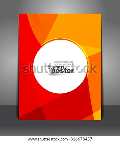 Stylish orange-red poster with a button in the middle. Design layout template - stock vector