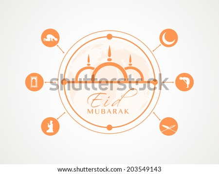 Stylish orange with Islamic religious book Quran Shareef, mosque and young muslim man praying on grey background for muslim community festival Eid Mubarak celebrations.  - stock vector