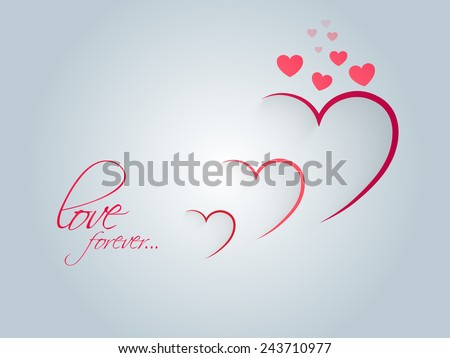 Stylish paper cutout hearts with text Love Forever on shiny sky blue background for Happy Valentine's Day celebration. - stock vector