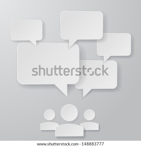 Stylish Paper Speech Bubbles Illustration - stock vector