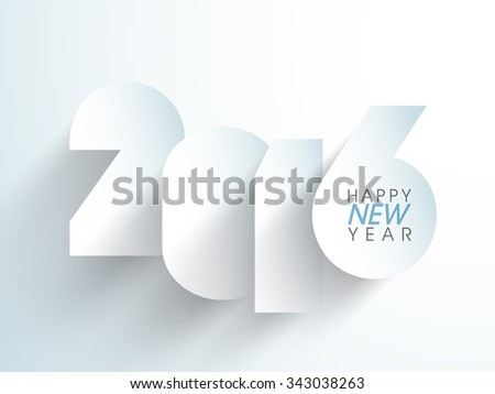 Stylish paper text 2016 on glossy sky blue background for Happy New Year celebration. - stock vector