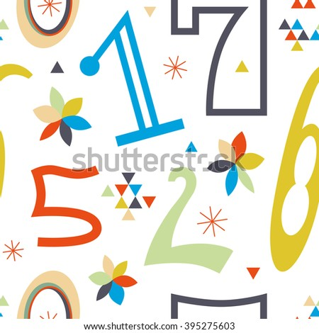 Stylish pattern with colored numbers. Beautiful vector seamless pattern for numbers fans. A striking result is guaranteed - stock vector