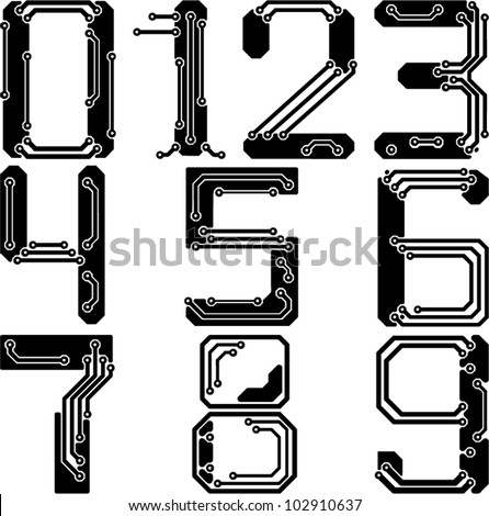 Stylish pcb electric wires numbers - stock vector