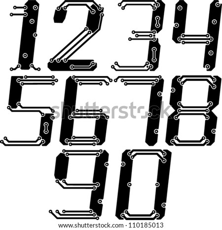 Stylish pcb electric wires numbers in italics - stock vector