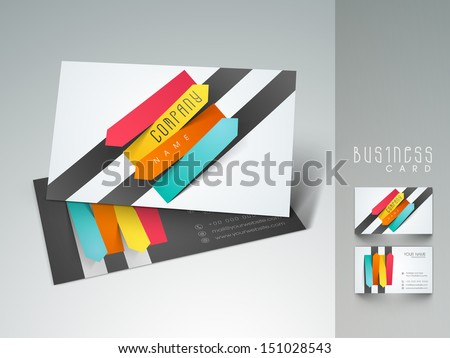 Stylish professional and designer business card set or visiting card set with colorful stripes.  - stock vector
