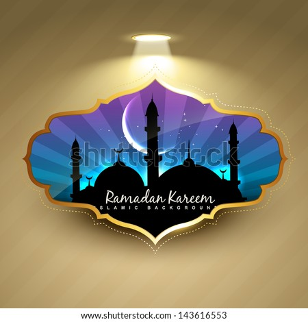 stylish ramadan kareem label design - stock vector