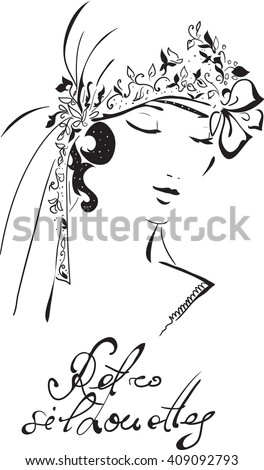 Stylish retro beautiful bride model for fashion wedding design. Hand-drawn graphic illustration. Portrait of pretty woman with flowers on her head . Sketch drawing, elegant vector style. - stock vector