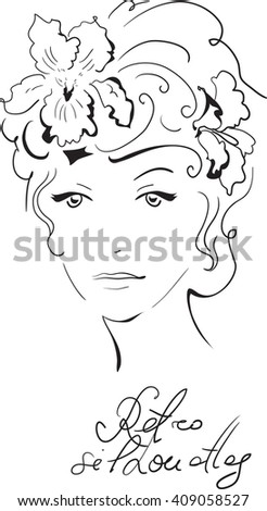 Stylish retro beautiful model for fashion design. Hand-drawn graphic illustration. Portrait of pretty woman with iris on her head. Sketch drawing, elegant vector style. - stock vector
