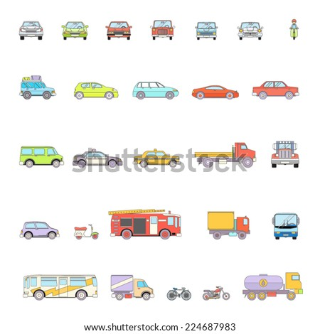 Stylish Retro Car Line Icons Set Isolated Transport Symbols Vector Illustration - stock vector