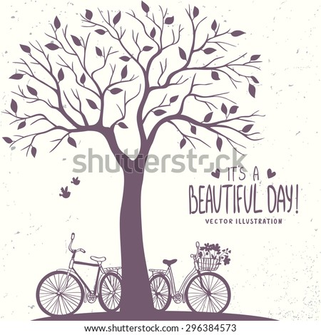 Stylish romantic card with silhouette tree and two bicycle. Vector illustration - stock vector
