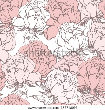 Stylish Rose Flowers Seamless Background. Floral Vector Pattern. Rose Quartz Tint Ornament.  - stock vector