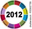 Stylish Round 2012 Calendar (Vector) - stock vector