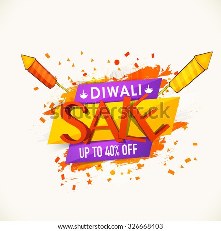 Stylish Sale poster, banner or flyer design with 40% discount offer for Indian Festival, Diwali celebration. - stock vector