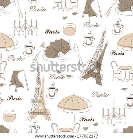 Stylish seamless pattern with eiffel tower , cafe and bird - stock vector