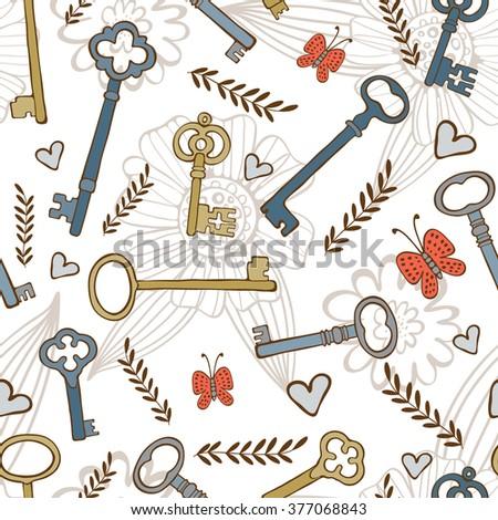 Stylish seamless pattern with vintage keys - stock vector