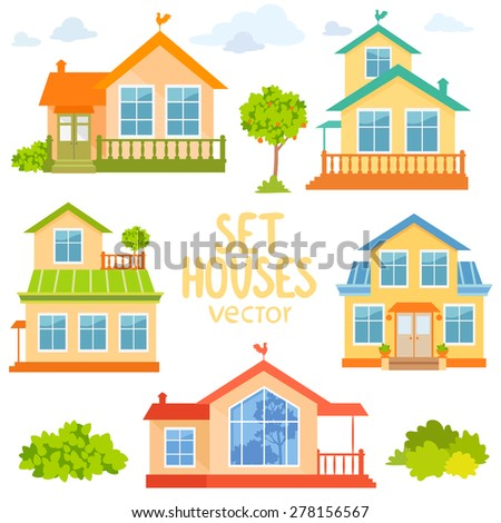 Stylish set beautiful and colorful village houses. vector illustration - stock vector