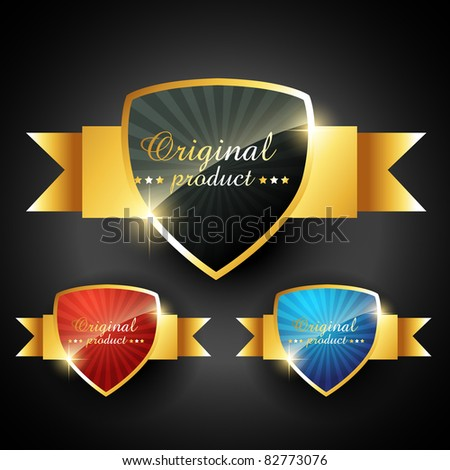 stylish shiny golden vector label - stock vector