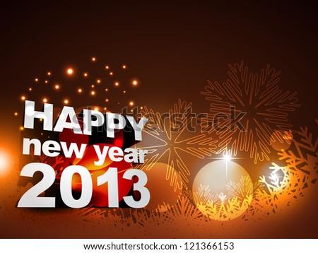 stylish shiny happy new year vector design - stock vector