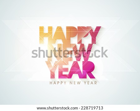 Stylish shiny text for Happy New Year 2015 celebrations, can be used as poster, banner or flyer. - stock vector