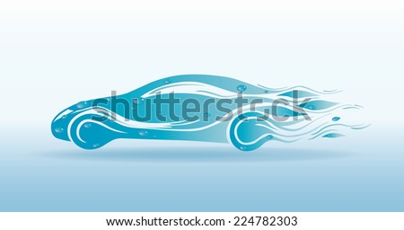 Stylish sports car with drops of water on a light background. EPS 10. - stock vector
