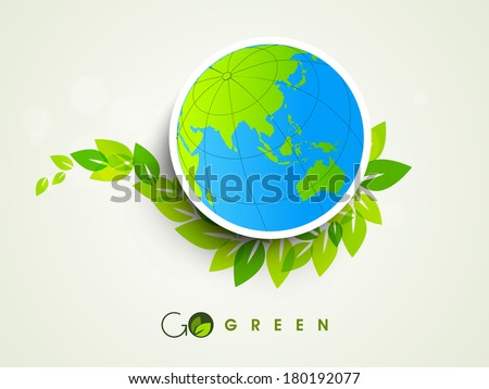 Stylish sticker, tag or label design with globe and green leaves on grey background.  - stock vector