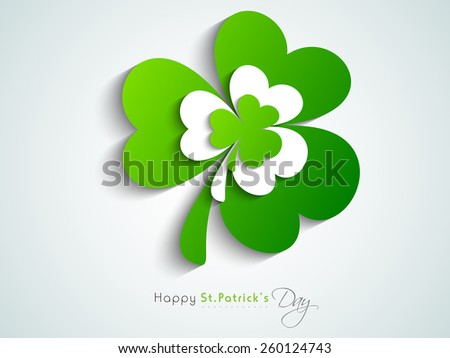Stylish sticky design of Irish lucky shamrock leaves for Happy St. Patrick's Day celebrations. - stock vector