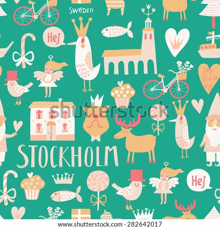 Stylish Stockholm concept seamless pattern in vector. House, church, gnome, birds, moose, bicycle, horse and other Stockholm symbols in cute green colors - stock vector