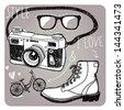 stylish sunglasses, boots, camera and bike - stock vector
