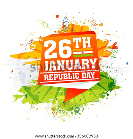 Stylish tag on saffron and green color splash background for 26th January, Happy Indian Republic Day celebration. - stock vector