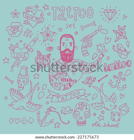 Stylish tattoo vector set. Cute vintage collection of tattoo - heart, pigeon, anchor, diamond, flower, dice, pistol and others - stock vector