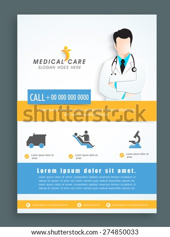 Stylish template, banner or flyer design for Health and Medical. - stock vector