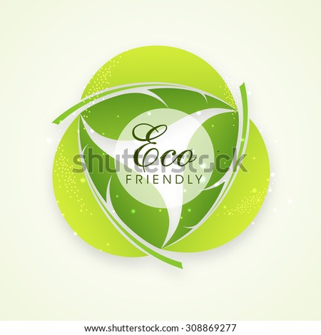 Stylish text Eco Friendly on creative leaves, can be used as sticker, tag or label design. - stock vector