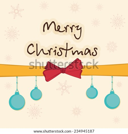 Stylish text of Merry Christmas with X-mas balls hanging from ribbon on snowflakes decorated background. - stock vector
