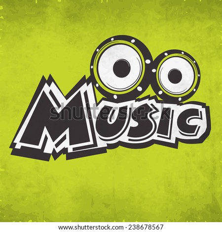 Stylish text of Music with speakers on grungy green background. - stock vector