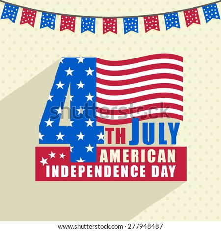 Stylish text 4th July in national flag colors for American Independence Day celebration. - stock vector