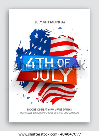 Stylish text 4th of July on American Flag design background, Creative Pamphlet, Banner or Flyer for Independence Day celebration. - stock vector