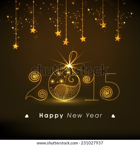 Stylish text with shiny Christmas ball on hanging stars decorated brown background for Happy New Year 2015 celebrations. - stock vector