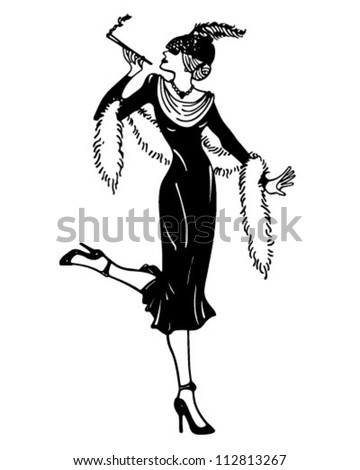 Stylish Thirties Gal - Retro Clipart Illustration - stock vector