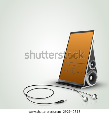 Stylish touch screen music player with earphones isolated on shiny background. - stock vector
