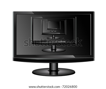 Stylish TV set with it's own images on the screen placed inside each other, realistic vector illustration - stock vector