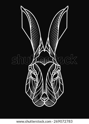 Stylish vector illustration of rabbit - stock vector