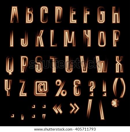Stylish vector luminous alphabet. Neon letters and symbols on black background - stock vector