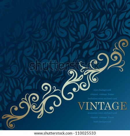 Stylish Vintage Invitation card. Luxury blue design - stock vector