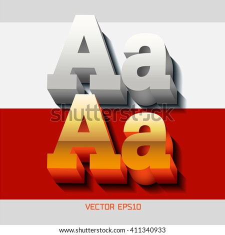 """Stylish volumetric gold 3d letters with red reflection and shadows and monochrome letter. The capital letters """"A"""" and lowercase """"a."""" EPS10. - stock vector"""