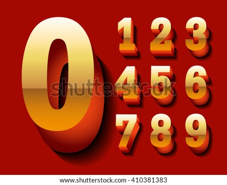 Stylish volumetric gold 3d numbers with red reflection and shadows. eps10. Zero 0 One 1 Two 2 Three 3 Four 4 Five 5 Six 6 Seven 7 eight 8 nine 9.  - stock vector