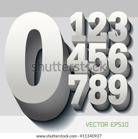 Stylish volumetric monochrome 3d numbers with reflection and shadows. eps10. Zero 0 One 1 Two 2 Three 3 Four 4 Five 5 Six 6 Seven 7 eight 8 nine 9. - stock vector