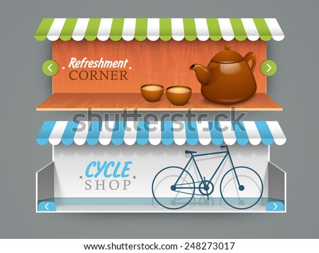 Stylish website header or banner for cafe and cycle shop. - stock vector